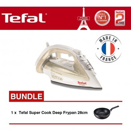 Tefal FV4911 Steam Iron + B14366 Super Cook Deep Frypan 28cm