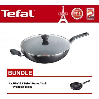 Tefal B14396 Super Cook Wokpan 32cm with Lid + B14383 Super Cook 16cm Wokpan