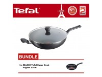 Tefal Super Cook Wokpan 32cm With Lid B14396 + B14302 Super Cook Frypan 20cm