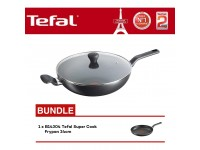 Tefal Super Cook Wokpan 32cm With Lid B14396 + B14304 Super Cook Frypan 24cm