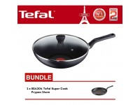 Tefal Super Cook Wokpan 28cm With Lid B14392 + B14304 Super Cook Frypan 24cm