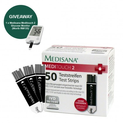 MediTouch 2 Test Strips of 50 pieces FOC Medisana MediTouch 2 Glucose Monitor